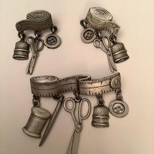 VintageJJ Seamstress Delight Brooch & Earrings Set